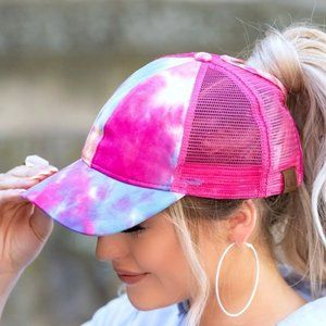 Hot Pink Multi Tie Dye C.C Ponytail Messy Bun Cap